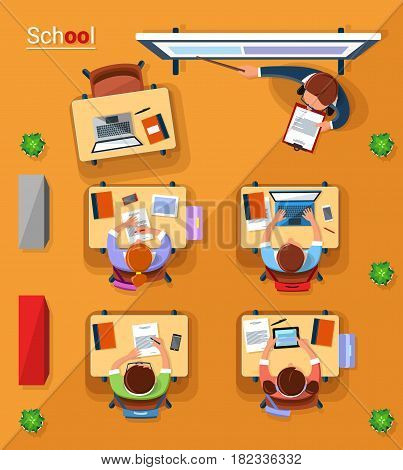 Vector top view school concept illustration. Teacher and school children at the lesson in classroom. Flat style design.