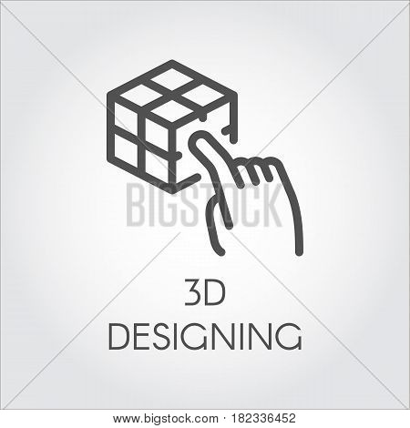 Black flat simple icon in style line art. Outline symbol with stylized image of a new device virtual modeling. Stroke vector logo digital simulation technology future. Mono linear pictogram web.