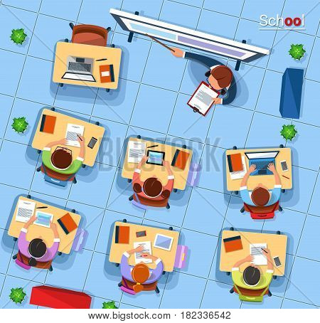 Vector flat style design top view school concept illustration. Teacher pointing at blackboard and school children sitting at the desks, writing in notebooks or using gadgets. Classroom interior.