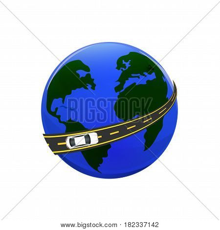Traveling by car. The globe, the road, the car. Vector illustration