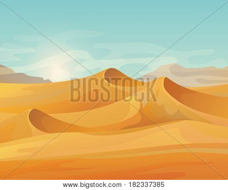 Landscape of sand hot desert with wind and sky. Outdoor panorama on wild summer dune. Arab and safaris, african and egypt, east climate, travel and tourism, adventure and wild theme