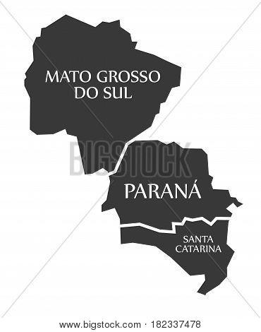 Mato Grosso Do Sul - Parana - Santa Catarina Map Brazil Illustration