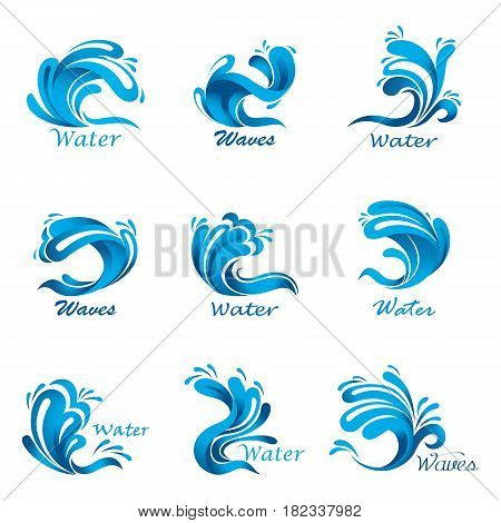 Set of isolated sea waves with water drops, river or lake, ocean wavy and curvy blue liquid flow and splash. Nautical and marine, aqua motion and flowing stream, tidal and maritime theme