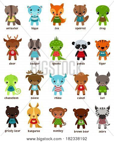 Cartoon smiling hippo and anteater, fox and squirrel, frog or toad, deer or moose, badger and lizard iguana, panda and tiger, chameleon and rhino, camel and bat, grizzly bear. Animals theme