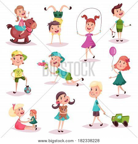 Set of isolated kids at playing with soccer ball and toy lorry or truck, alien gun and teddy bear, doll and balloon, pony or horse. Schoolkids or children, boy and girl, game and childhood action theme
