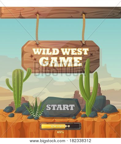 Start or menu screen for wild west game, graphic user interface or gui with start button on top of cactus and mountains, desert background and progress bar, Web or mobile application showcase, window