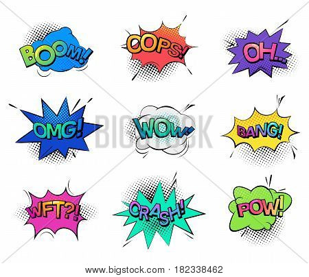 Isolated cartoon comic bubble speeches and onomatopoeia sounds like boom for explosion, oops and oh, omg and wow, wtf wonder exclamation, bang and crash, pow. Humour comic book, message theme