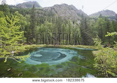 Geyser Mountain Lake With Blue Clay. Altai, Russia