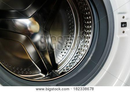 Close-up photo of new washing machine drum