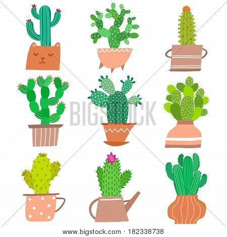 Houseplant vector icon set. Cute cactus plant in pots isolated on white background