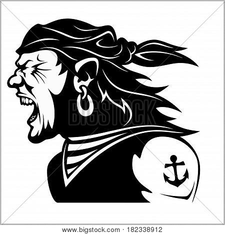 Furious pirate - Screaming sailor - isolated on white