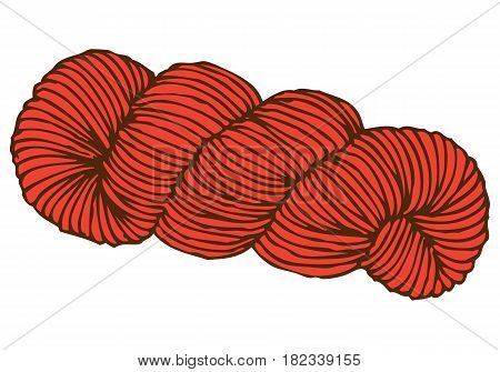 Red Hank of Yarn. Isolated on White Background