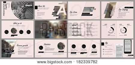 Black elements for infographics on a rose background. Presentation templates. Use in presentation flyer and leaflet corporate report marketing advertising annual report banner.