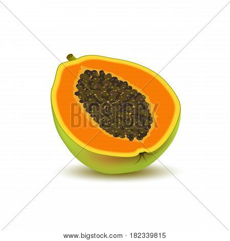 Isolated realistic colored half slice of juicy orange papaya pawpaw paw paw with seeds with shadow on white background