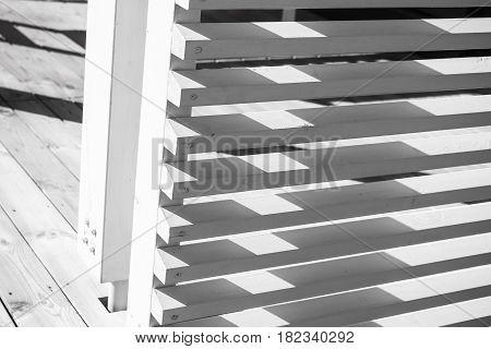 White Railings Corner Made Of Planks