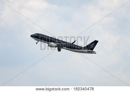 FUKUOKA, JAPAN - APR. 15, 2017: Airbus A320-200 taking off from the Fukuoka International Airport in Fukuoka, Japan.