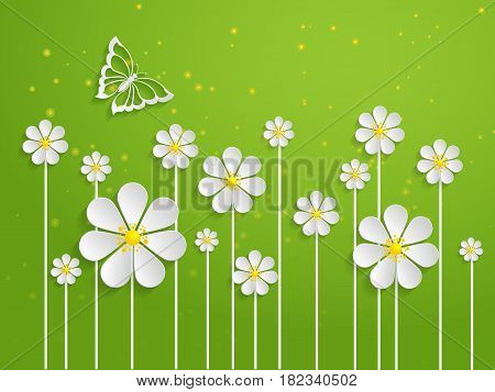 Vector spring background with volumetric flowers. Paper cut flowers on green background. With butterfly.