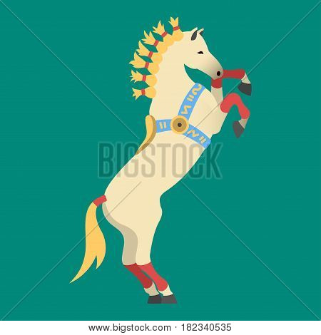Fashion circus horse profile stallion isolated breed color farm equestrian animal character vector illustration. Beautiful mammal silhouette domestic animal cartoon pet design.