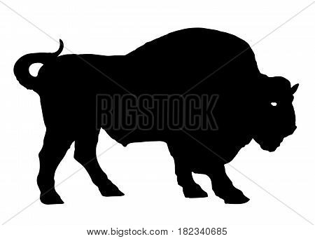 buffalo bison bull animal silhouette vector illustration