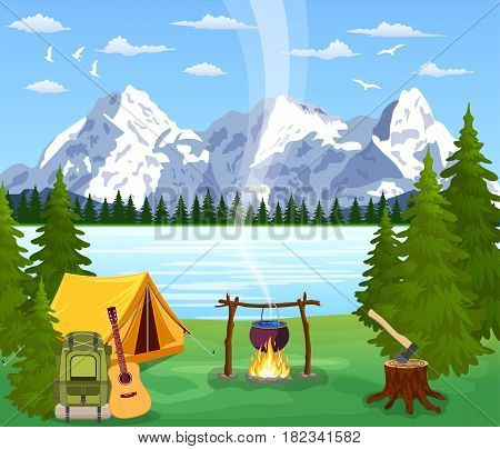 tourist tent and green meadow, mountains on a cloudy sky. Summer camping. Natural vector landscape. vector illustration in flat design. Outdoor activities. Tent and fire camp