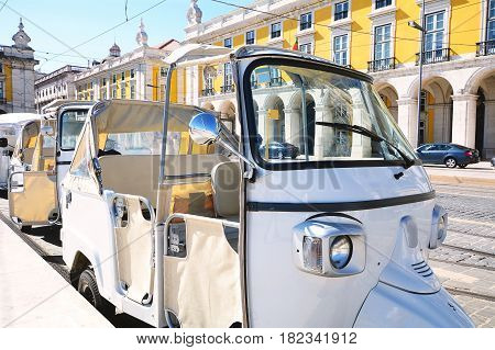 Close up view of tuk tuk on street of Lisbon in Portugal