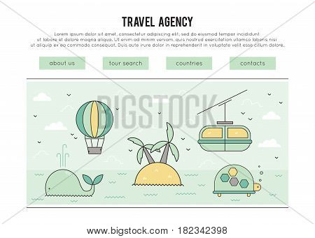 Travel agency vector banner template. Leisure and excursions, activities during the trip. Tourism linear modern pictograms. For banners and posters, cards and brochures, website designs.