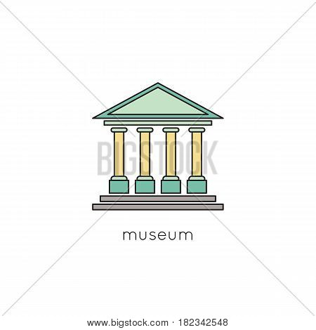 Museum vector thin line icon. Colored isolated symbol. Logo template, element for travel agency products, tour brochure, excursion banner. Simple mono linear modern design.
