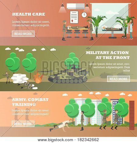Vector set of military horizontal banners. Health care, Military action at the front, Army combat training flat style design elements.