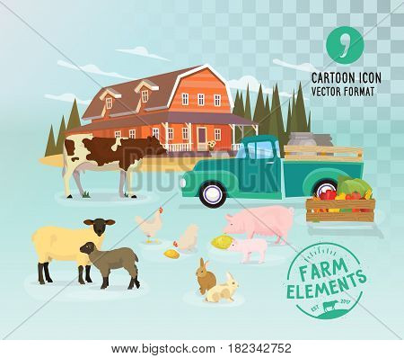 Vector animal character illustration of pig, cow and rabbit, sheep and chicken, lamb. Countryside, poultry.