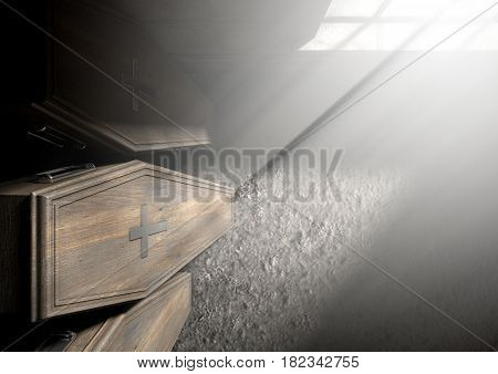 Coffin Row In A Room