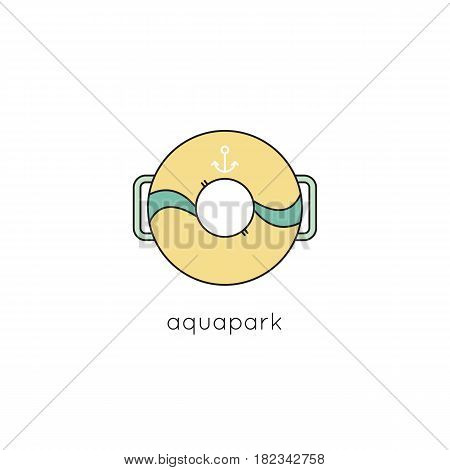 Lifebuoy vector thin line icon. Colored isolated symbol. Logo template, element for sea or aquapark products, travel agency tour brochure, excursion banner. Simple mono linear modern design.