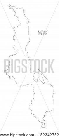 Malawi outline silhouette map illustration sketch draft