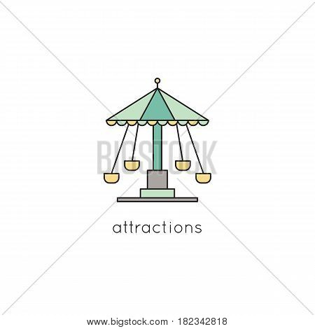 Carousel vector thin line icon. Colored isolated symbol. Logo template, element for amusement park products, circus brochure, excursion banner. Simple mono linear modern design.