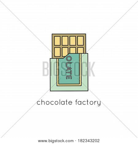 Chocolate vector thin line icon. Isolated symbol. Logo template for sweet-shop or confectionery, element for travel agency products, tour brochure, excursion banner. Simple mono linear modern design.