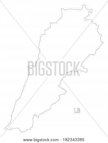 Lebanon outline silhouette map illustration sketch draft