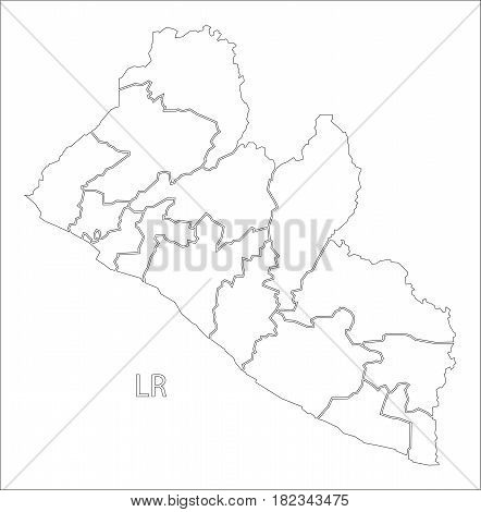 Liberia Outline Silhouette Map Illustration With Counties