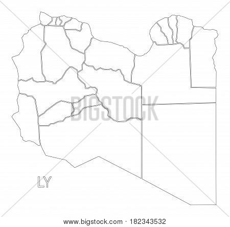 Libya Outline Silhouette Map Illustration With Districts