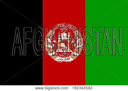 Illustration of the flag of Afghanistan with the country written on the flag.