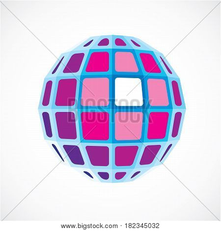 Purple Dimensional Vector Low Poly Object, Trigonometry Shape. Technology 3D Spherical Element Made