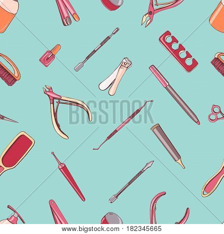 Manicure equipment seamless pattern. Hand drawn contour background