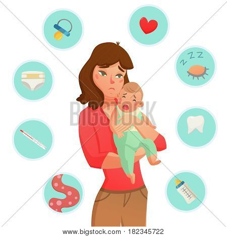 Colored crying baby reasons composition with round icon set that list the why he is crying vector illustration