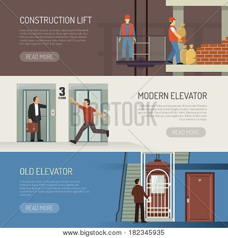 Elevator escalator stairs banners set with modern vintage and industrial lift images and read more button vector illustration