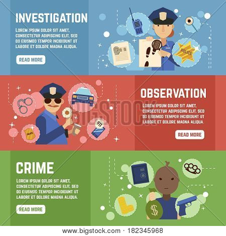 Private detective horizontal banners set with observation symbols flat isolated vector illustration poster