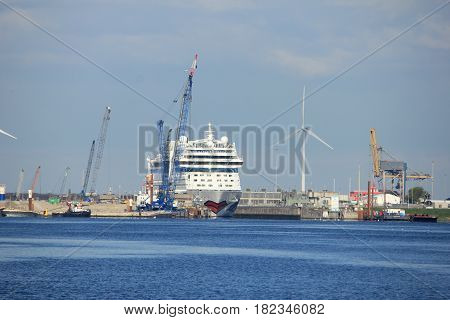 Velsen the Netherlands -April 19th 2017: Aida Sol in IJmuiden sea lock the largest sea lock in the world