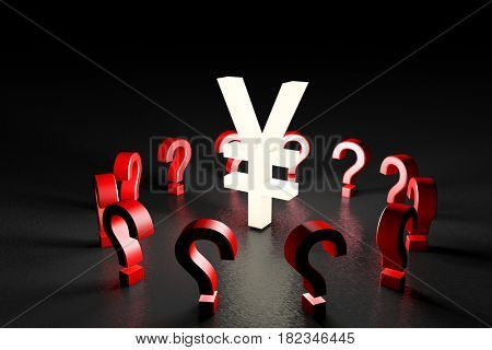 3d illustration white RMB sign over red question marks on black