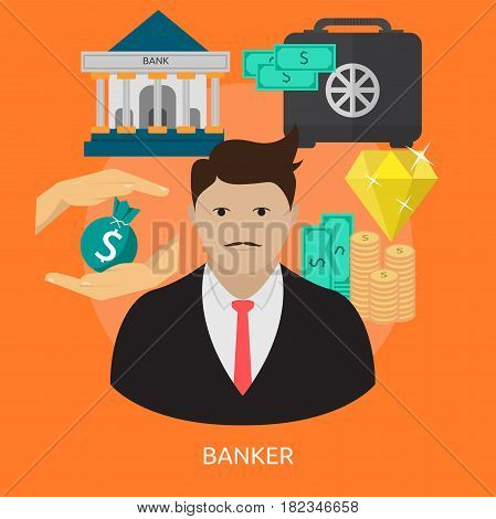Banker Conceptual Design | Great flat illustration concept icon and use for human, profession, athlete, work, event and much more.