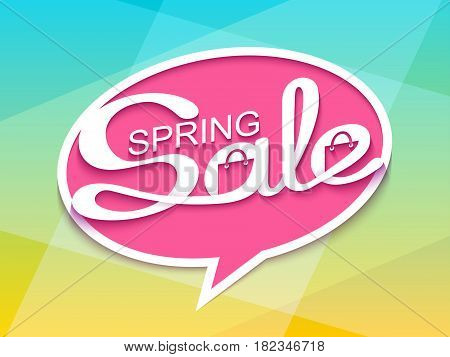 Spring sale. Sale banner with calligraphic inscription in comic speech bubble. Vector illustration.