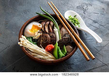 Asian Shiitake, Enoki , spring onions Mushroom egg Noodle