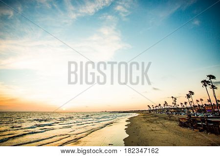 sunset at santa monica in california - beach - pacific