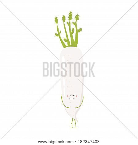 Vector illustration of cartoon vegetable. Funny character face isolated on white background. Hand drawn cute daikon.